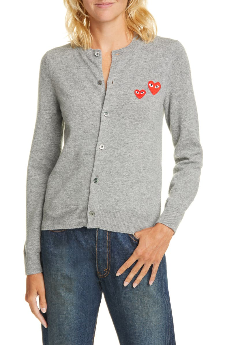 COMME DES GARÇONS PLAY Heart Patch Wool Cardigan, Main, color, GREY