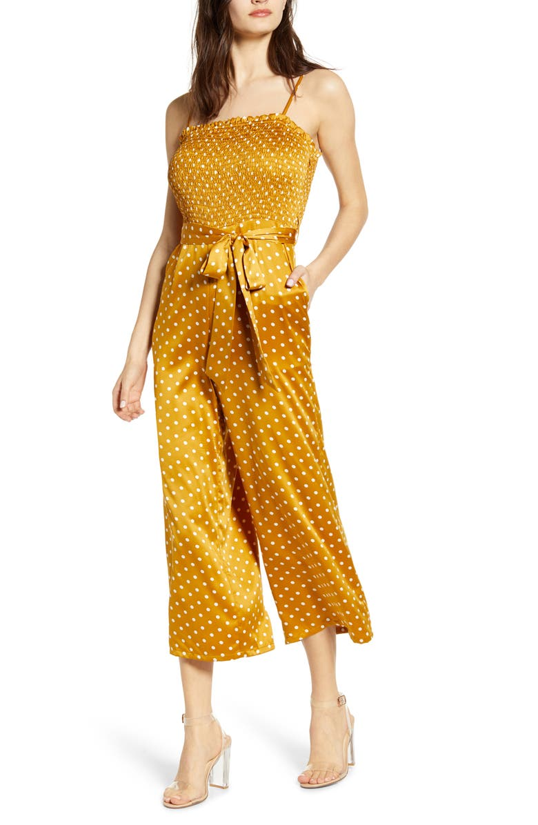 J.O.A. Polka Dot Tie Waist Wide Leg Crop Jumpsuit, Main, color, 700