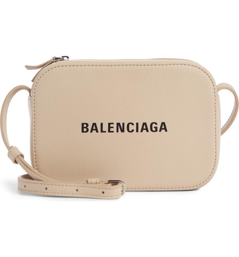 BALENCIAGA Extra Small Everyday Calfskin Camera Bag, Main, color, LIGHT BEIGE/ BLACK