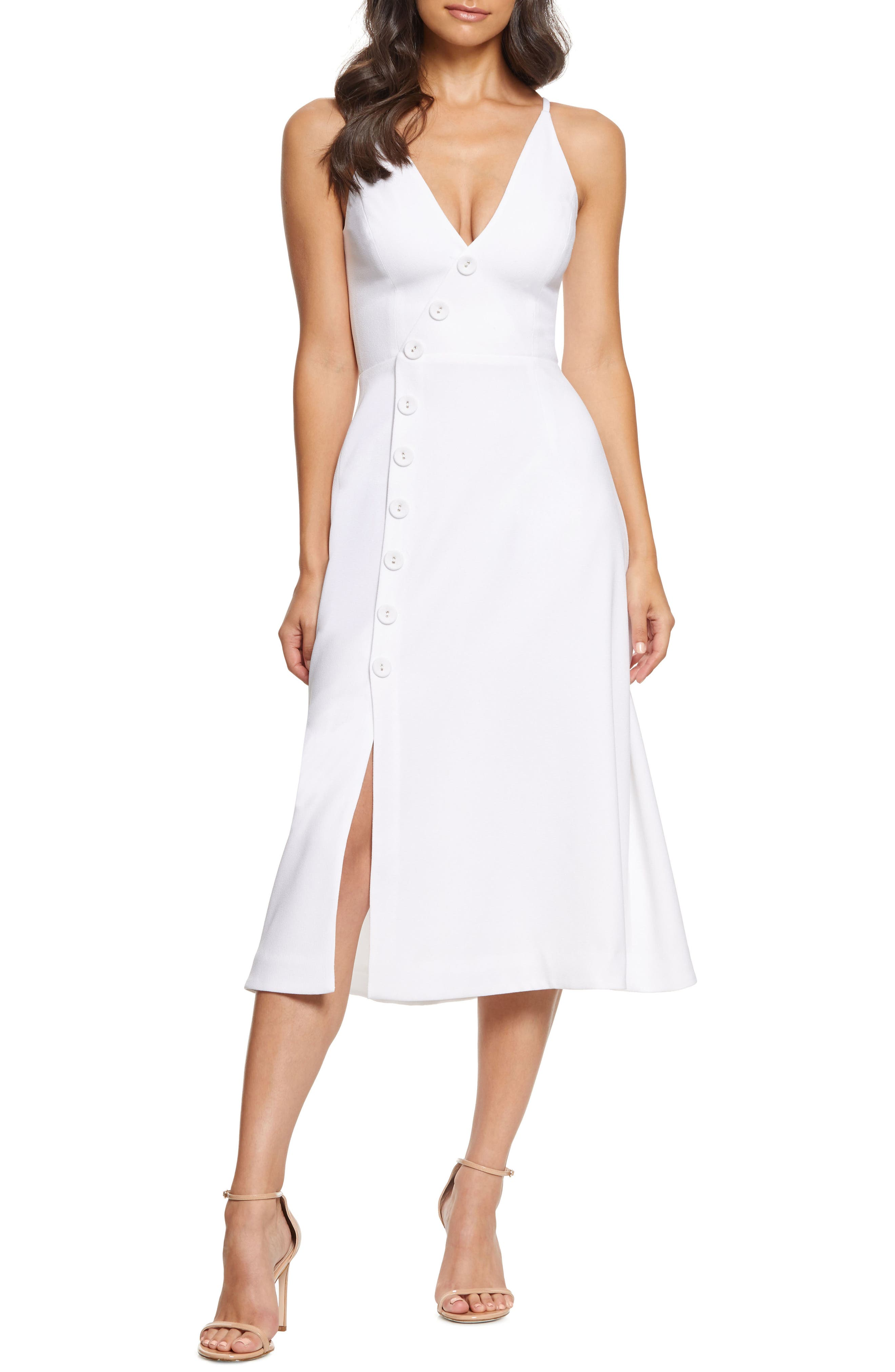 Dress The Population Emily Asymmetrical Front Button Cocktail Dress, Ivory