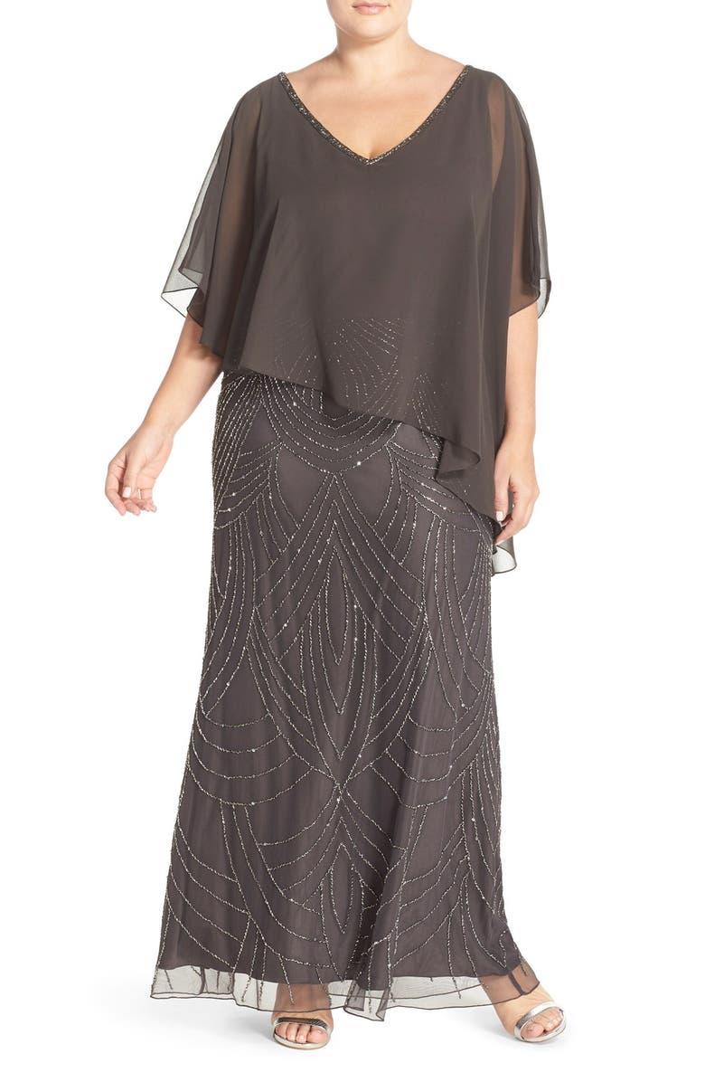 J KARA Chiffon Overlay Embellished Long Dress, Main, color, 020