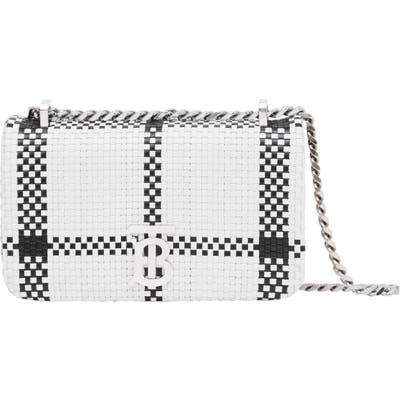Burberry Mini Lola Tb Woven Leather Shoulder Bag - White