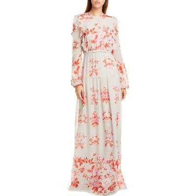 Giambattista Valli Floral Print Long Sleeve Silk Georgette Gown, US / 48 IT - Grey