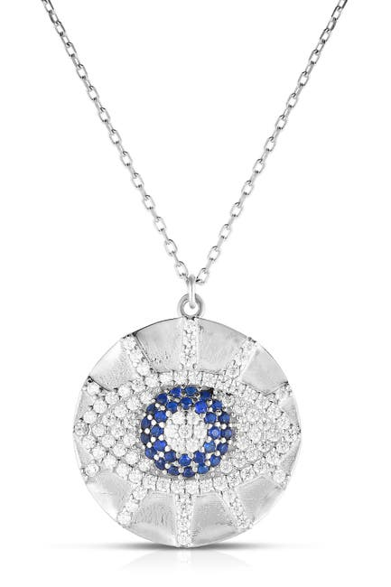 Image of Sphera Milano Rhodium Plated Sterling Silver CZ Eye Pendant Necklace