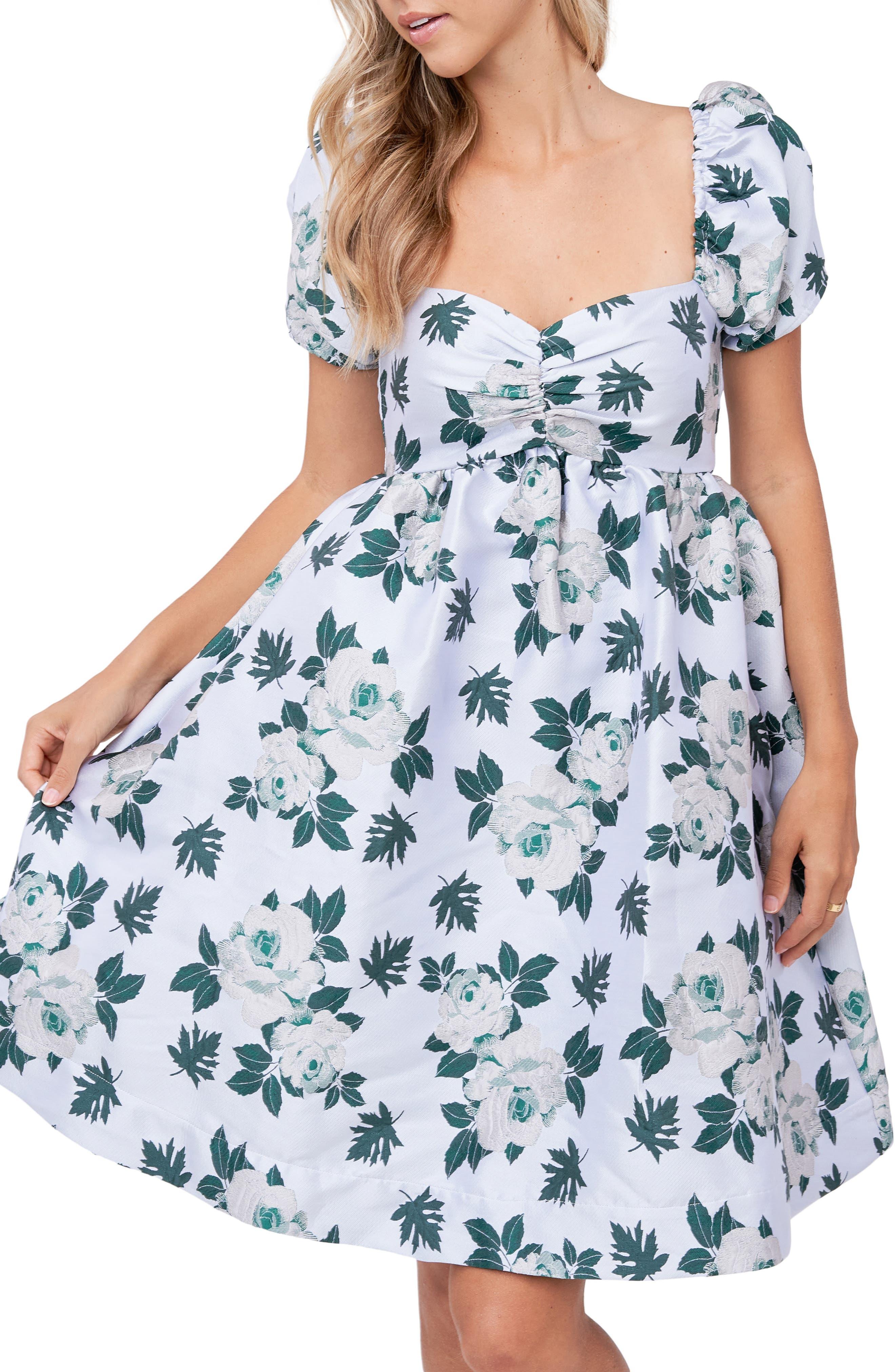 Floral Jacquard Babydoll Dress
