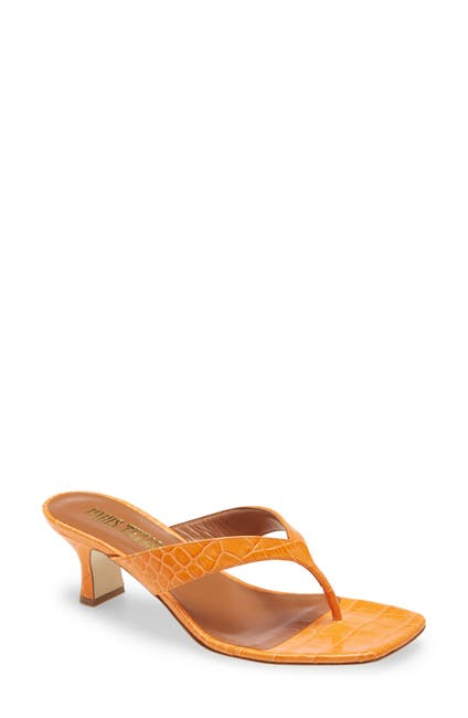 Image of PARIS TEXAS Croc Embossed Thong Sandals