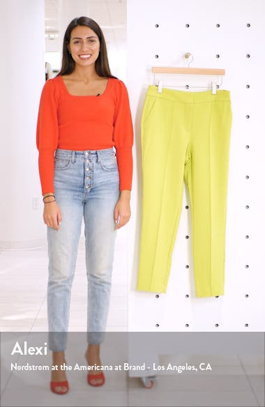 Center Seam Stretch Crepe Skinny Trousers, sales video thumbnail