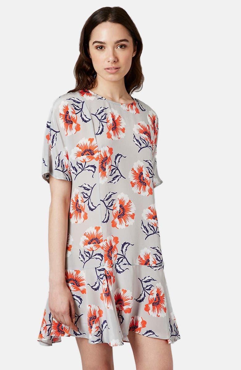TOPSHOP BOUTIQUE Floral Print Silk Shift Dress, Main, color, 050