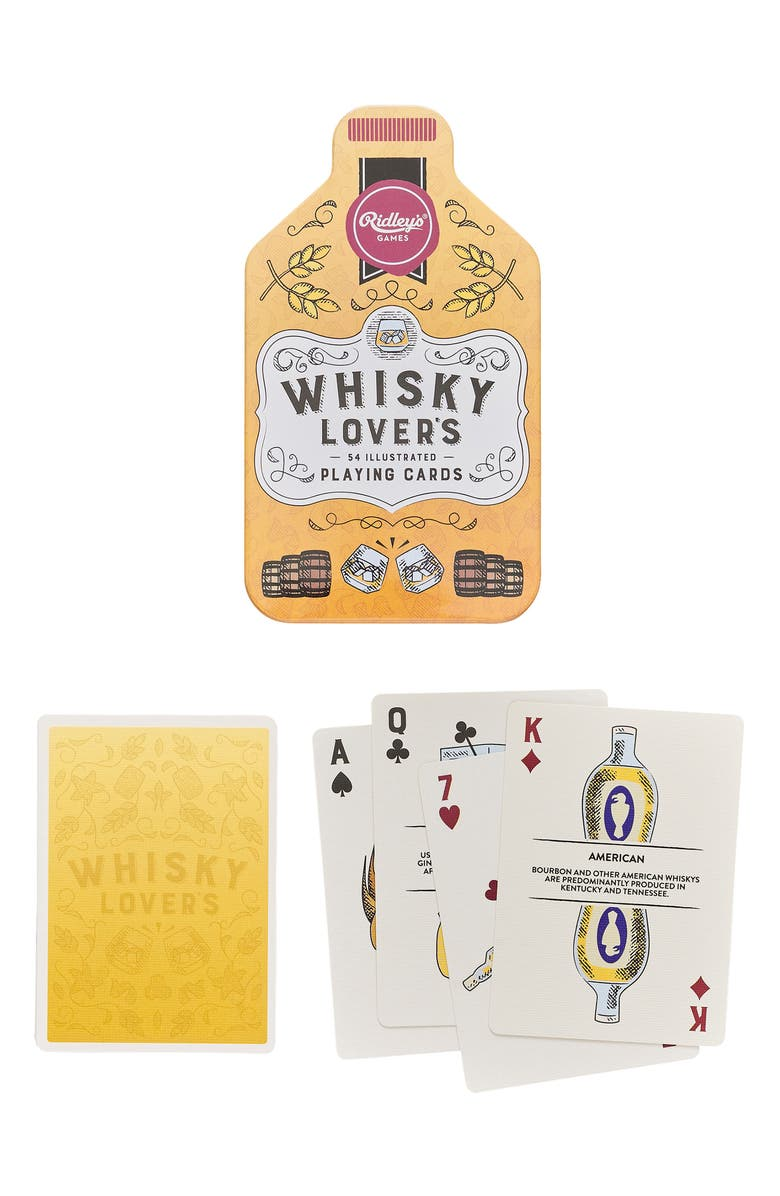 WILD & WOLF Whisky Lovers Playing Cards, Main, color, YELLOW