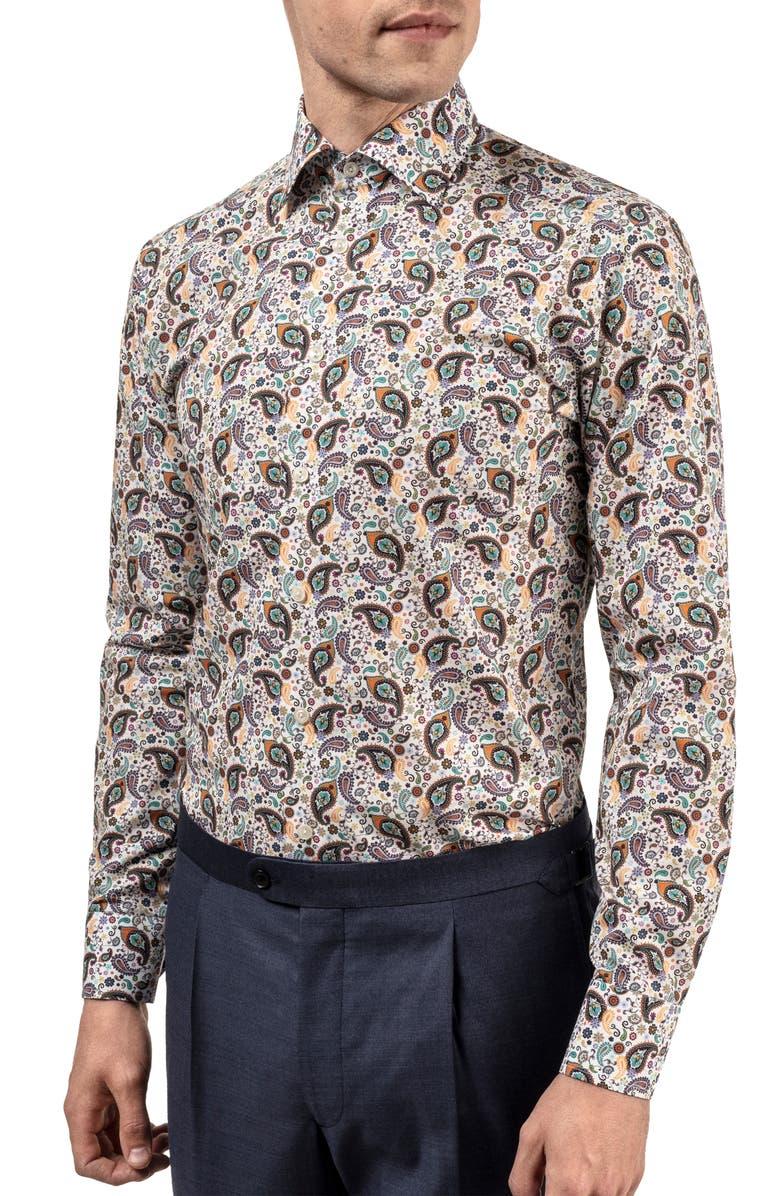 ETON Slim Fit Paisley Dress Shirt, Main, color, GREEN