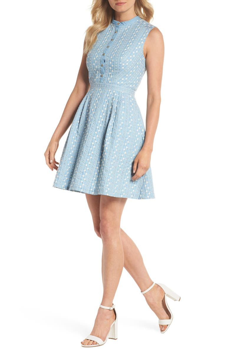 GAL MEETS GLAM COLLECTION Quinn Embroidered Chambray Fit & Flare Dress, Main, color, 460