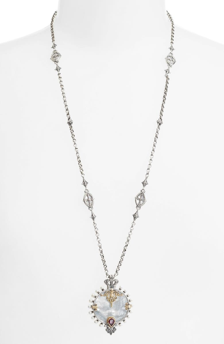 KONSTANTINO Sterling and Gold Pendant Necklace, Main, color, SILVER/ GOLD/ WHITE
