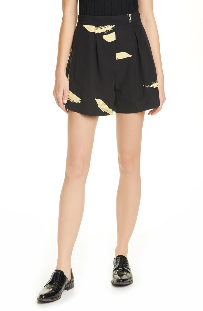 JOIE Benedita Brushstroke Pattern Shorts, Main, color, 001