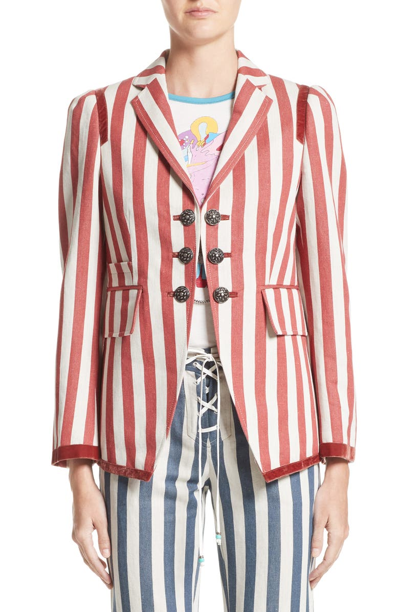 ROBERTO CAVALLI Stripe Hemp & Cotton Blazer, Main, color, 638