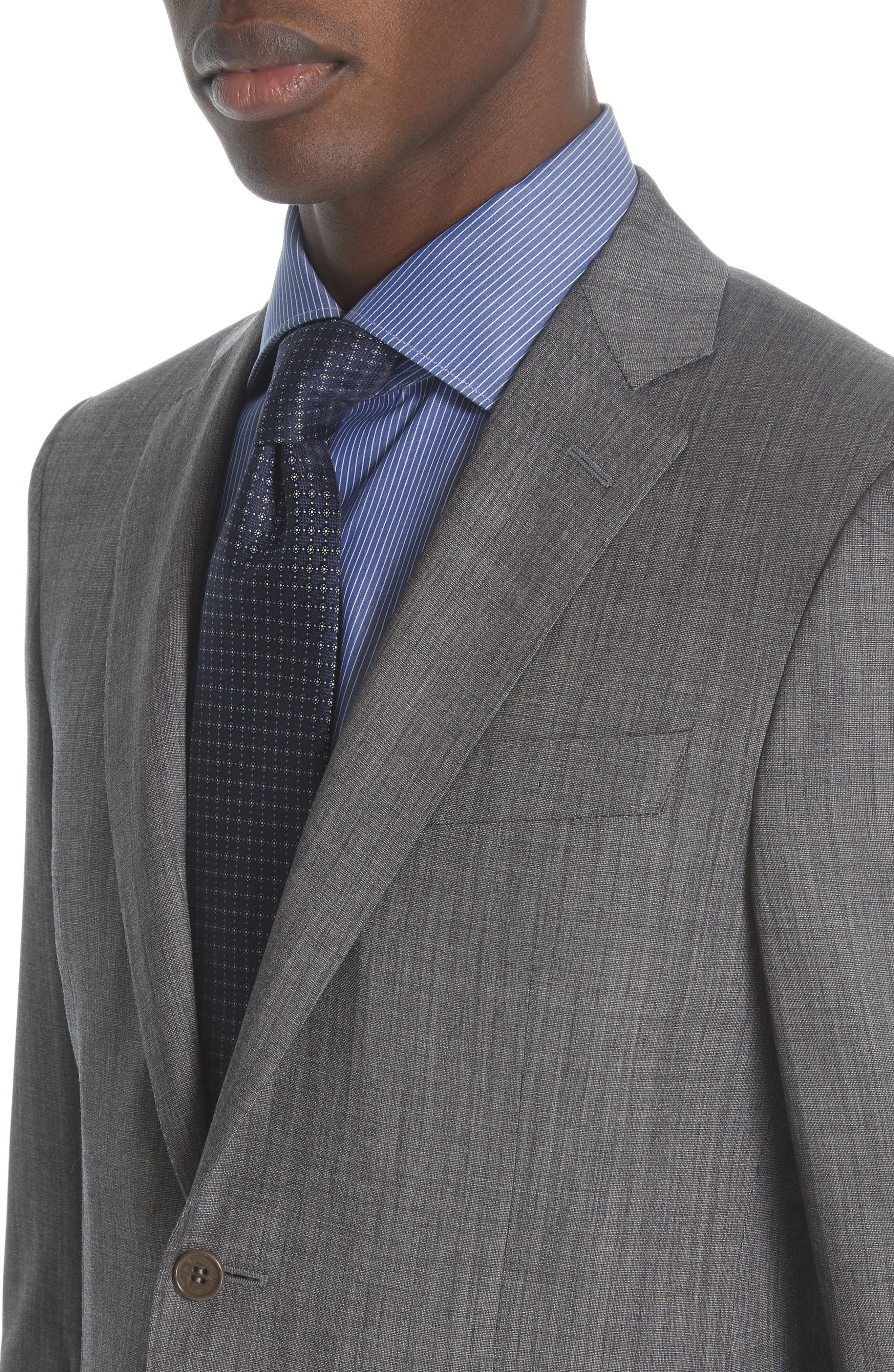 ,                             Milano Classic Fit Solid Wool & Silk Suit,                             Alternate thumbnail 4, color,                             DARK GREY