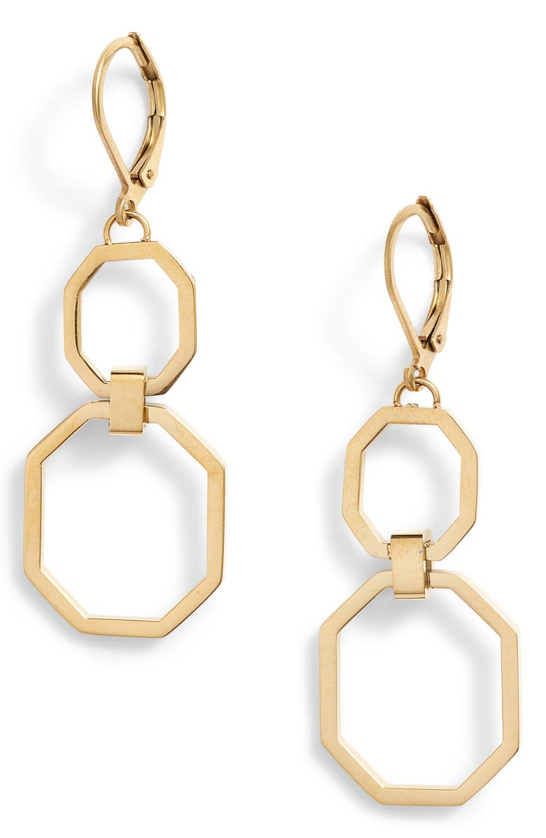 KNOTTY Link Drop Earrings, Main, color, GOLD
