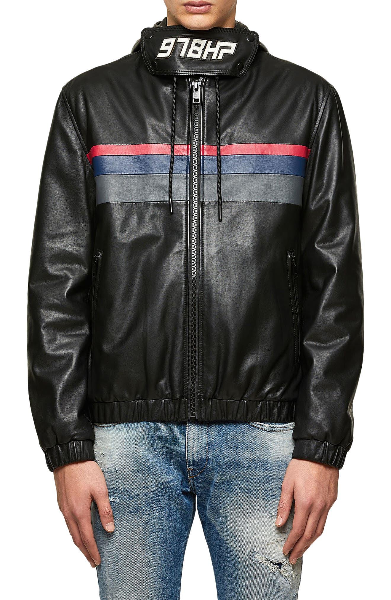 Men's Diesel Circle Stripe Detail Hooded Leather Jacket