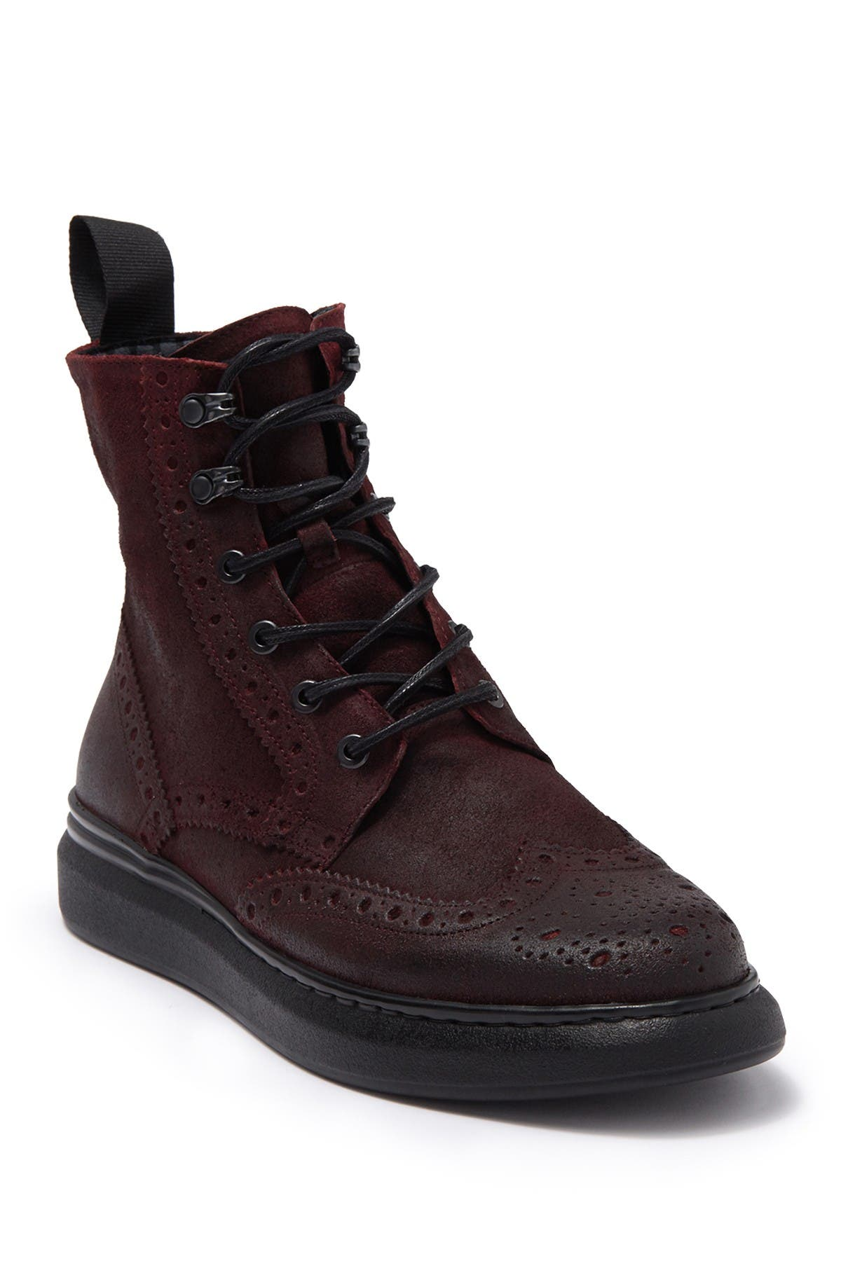 Image of Karl Lagerfeld Paris Oxblood Burnished Suede Combat Boot