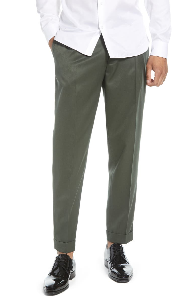 TOPMAN Slim Fit Pleated Tapered Pants, Main, color, GREEN