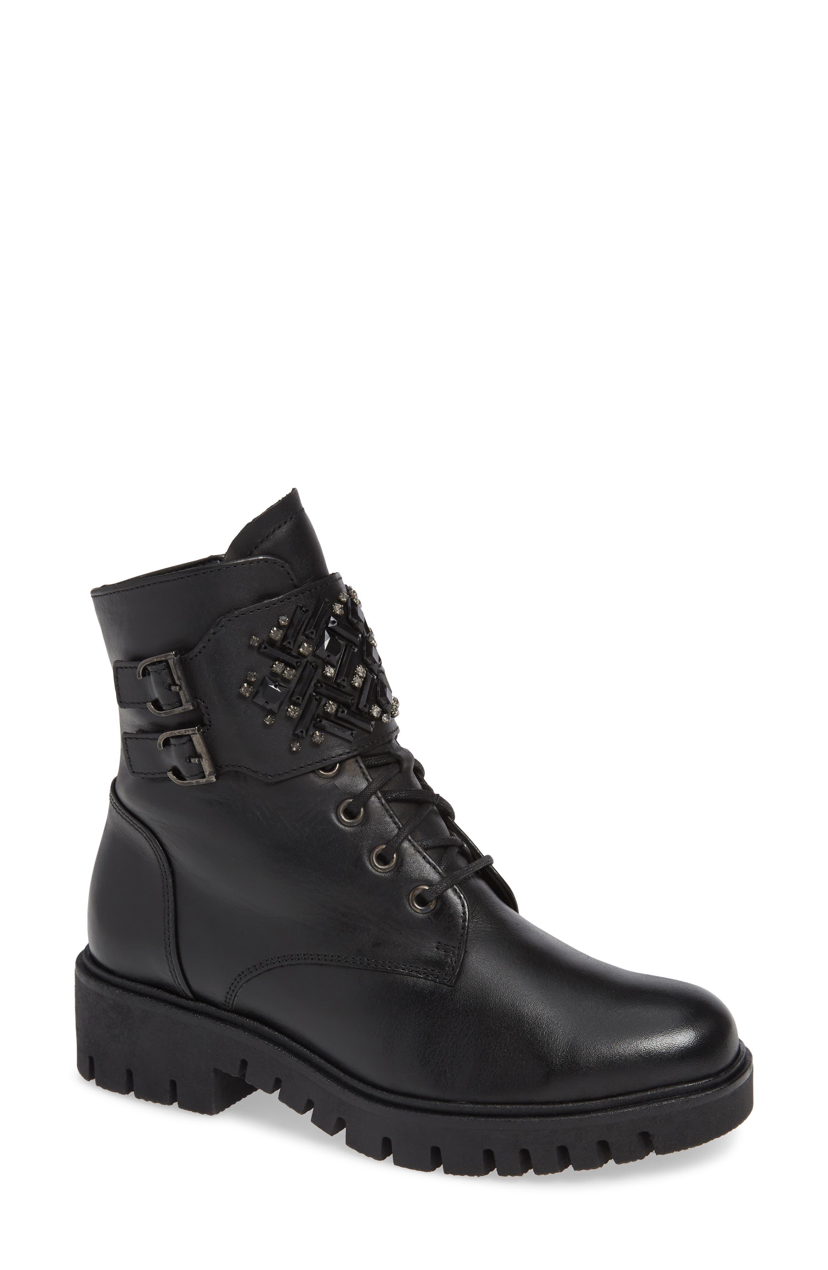 Gabor Fashion Combat Boot, Black