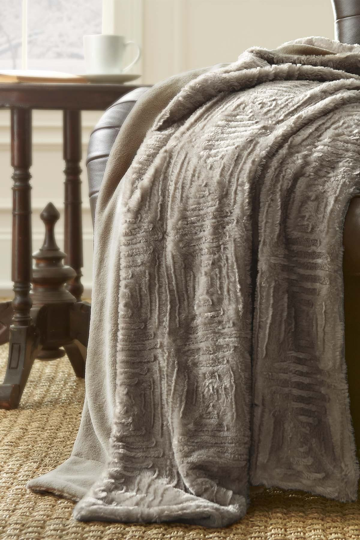 Modern Threads Luxury Faux Fur Throw - Pumice Stone at Nordstrom Rack