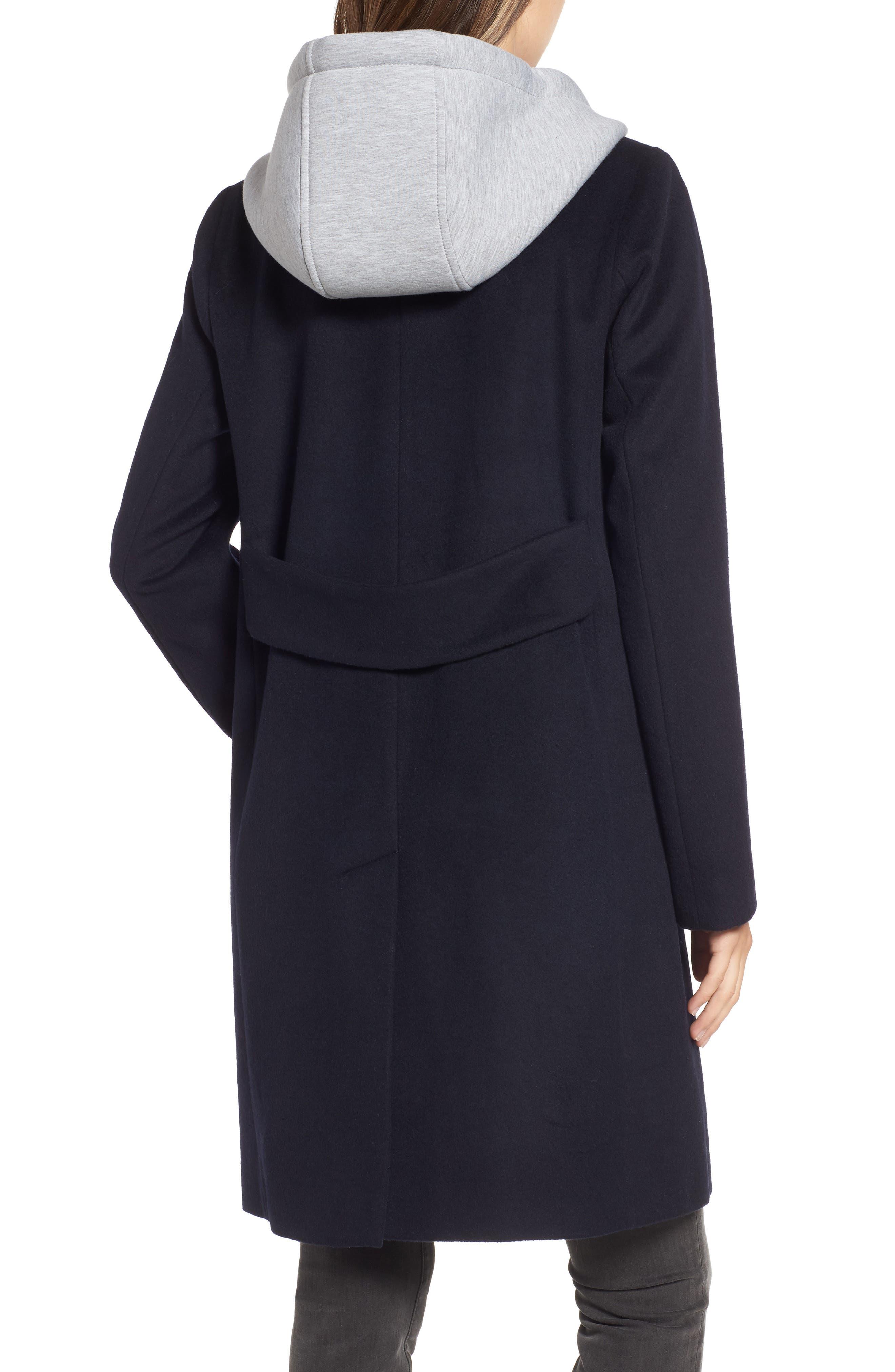 ,                             Hoodie Inset Wool Blend Coat,                             Alternate thumbnail 2, color,                             410