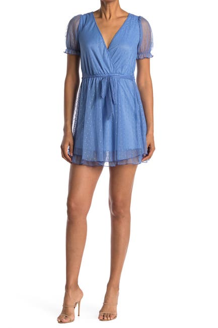 Image of KENEDIK Swiss Dot Mesh Surplice Short Sleeve Dress