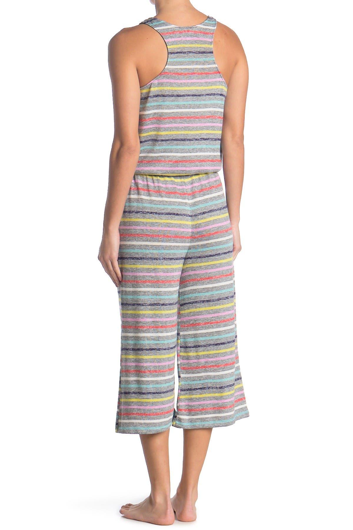 Image of Kensie Striped Sleeveless Wide Leg Pajama Romper