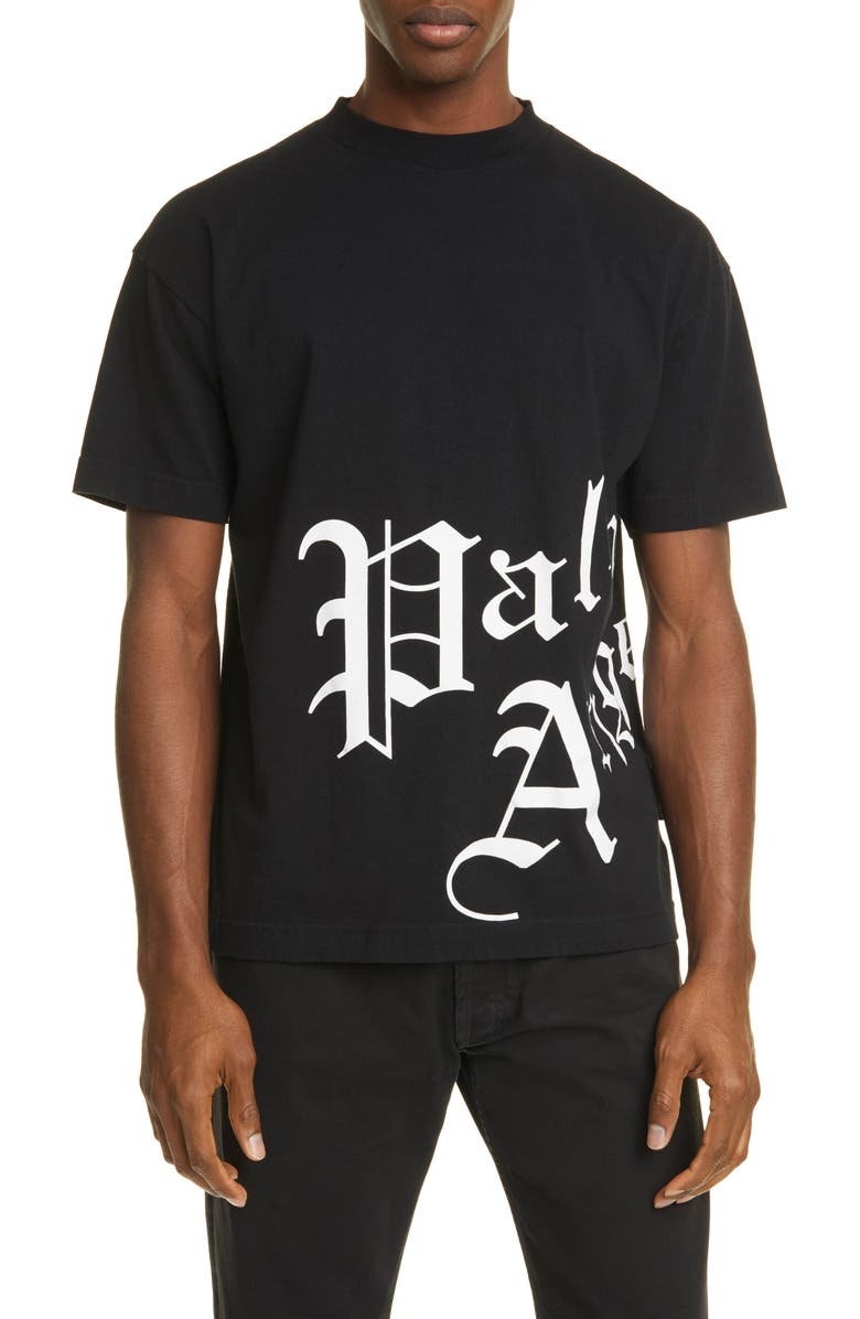 PALM ANGELS New Gothic Logo Graphic Cotton Tee, Main, color, 001