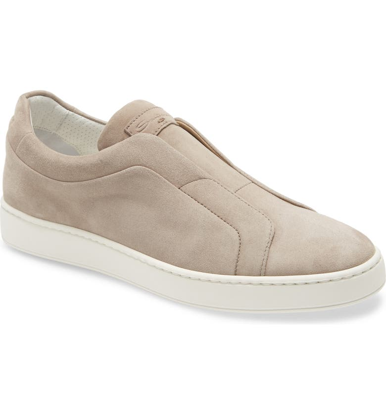 SANTONI Pass Slip-On Sneaker, Main, color, BEIGE