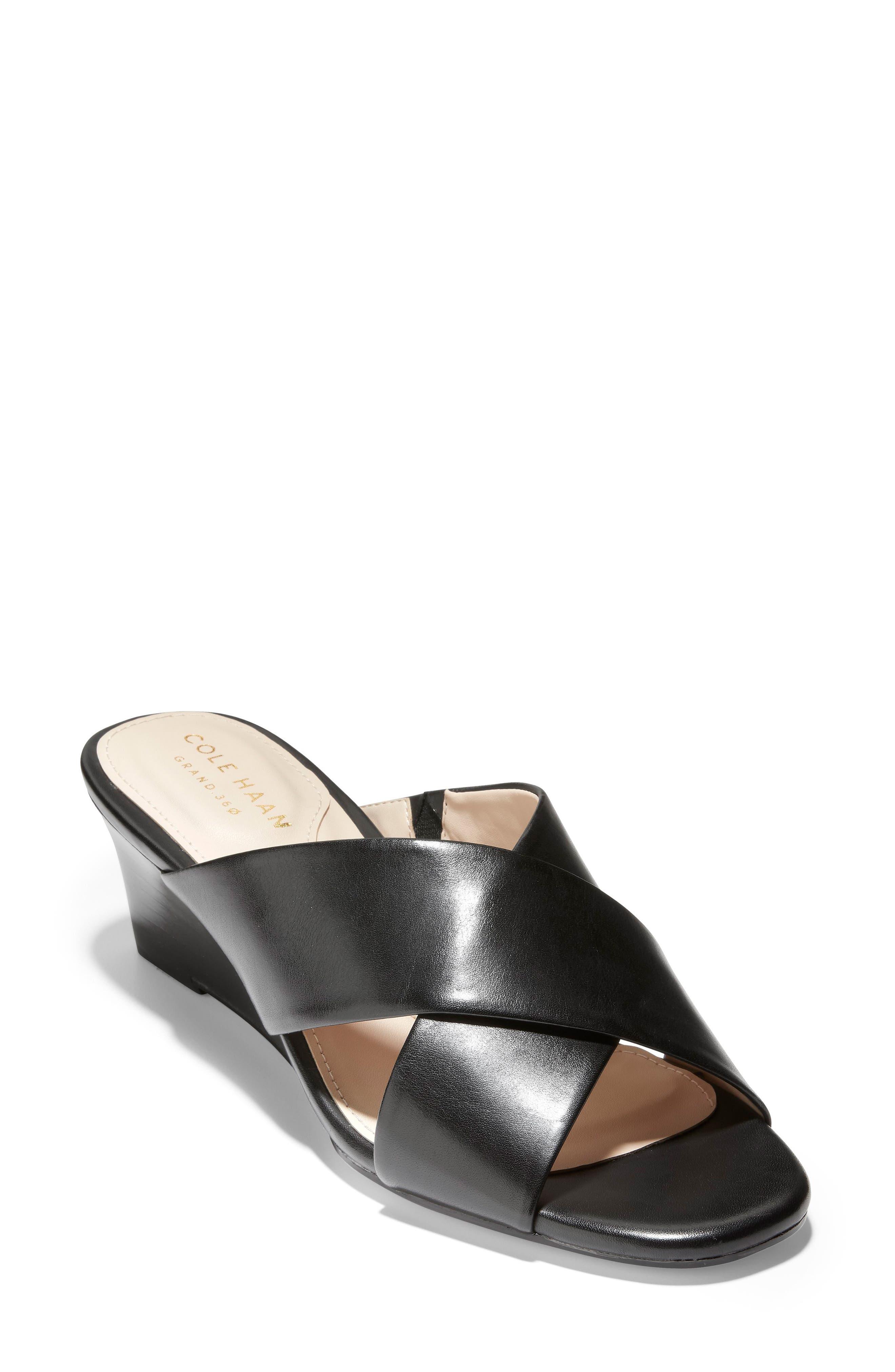 Adley Wedge Sandal, Main, color, BLACK LEATHER