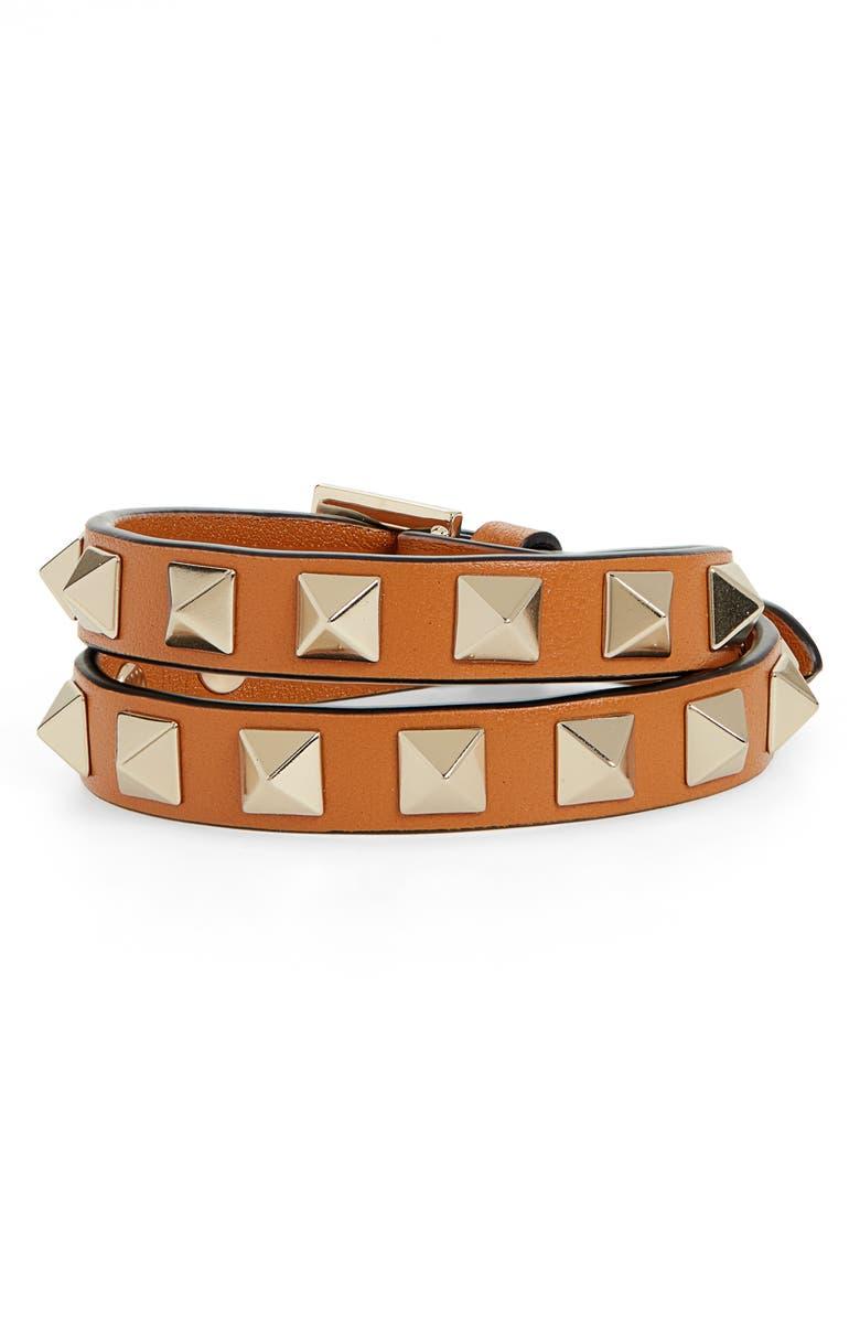 VALENTINO Rockstud Double Wrap Bracelet, Main, color, TAN
