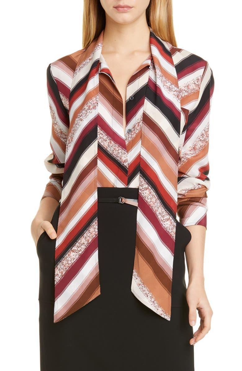 ALTUZARRA Tie Neck Chevron Print Silk Blouse, Main, color, AUBURN MULTI