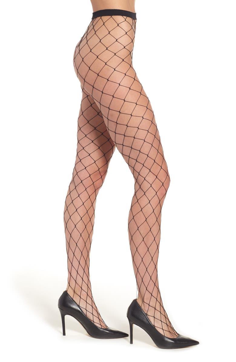 NORDSTROM Fishnet Tights, Main, color, BLACK