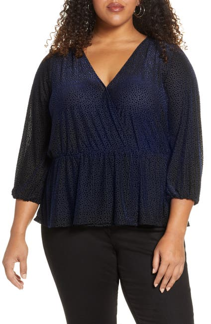 Image of Halogen Flocked Velvet Peplum Top