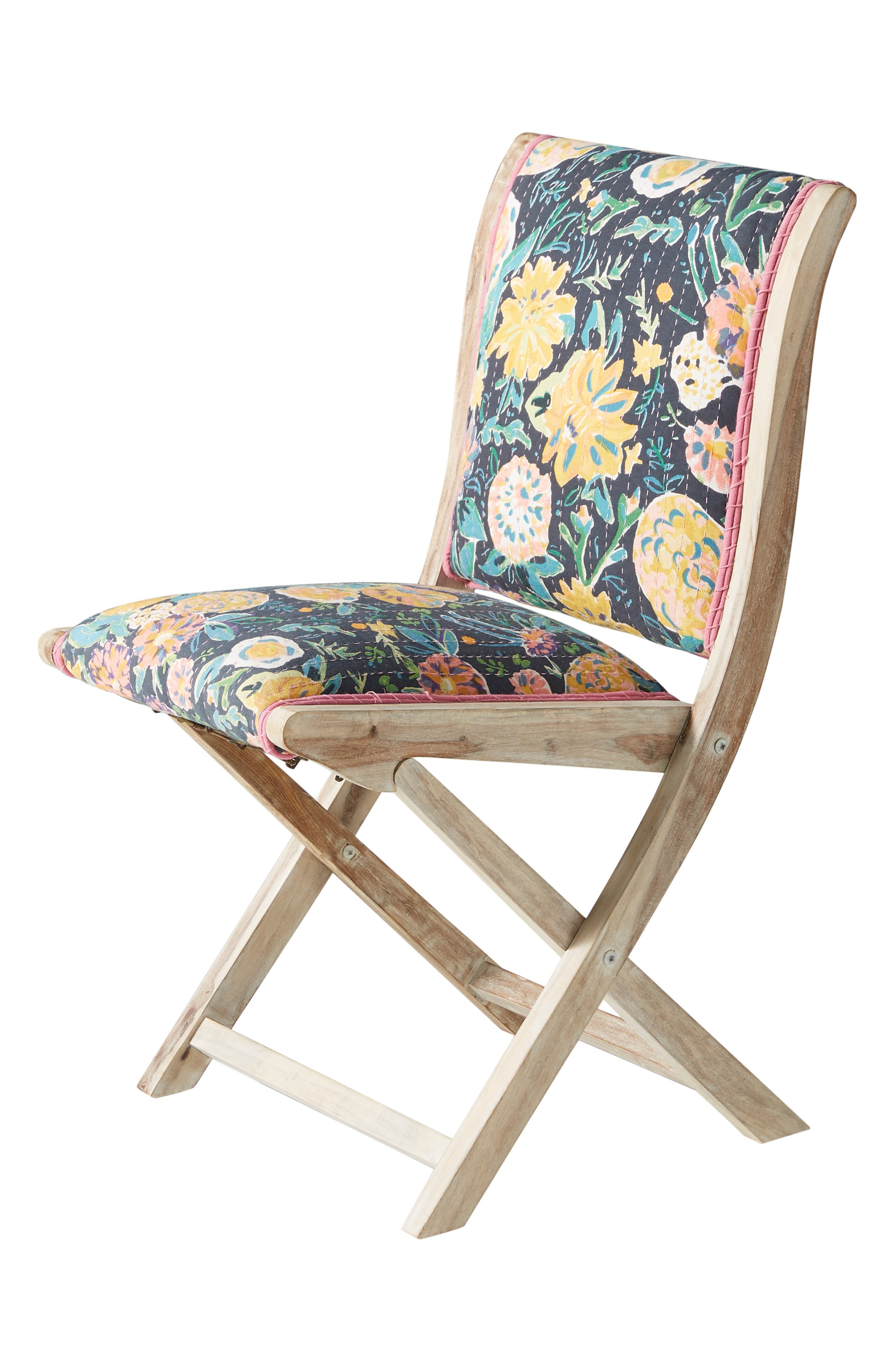 ,                             Emma Terai Folding Chair,                             Alternate thumbnail 7, color,                             BLACK MULTI