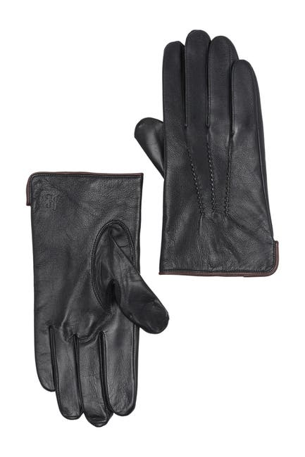 Image of Hickey Freeman Napa Leather Stitched Detail Gloves