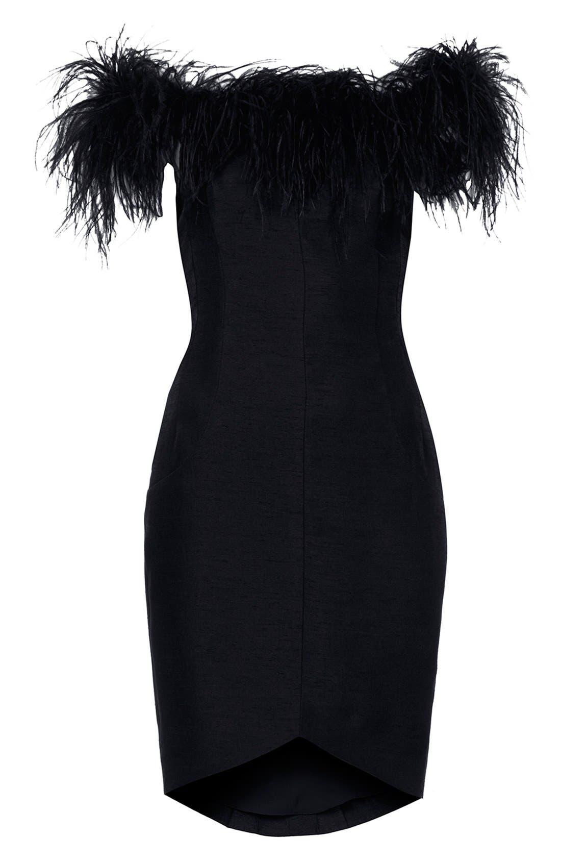 ,                             Kate Moss for Topshop Feather Off Shoulder Cocktail Dress,                             Alternate thumbnail 4, color,                             001