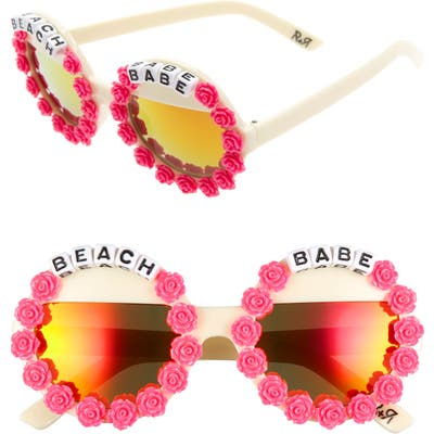 Rad + Refined Beach Babe Round Sunglasses - Cream/ Hot Pink