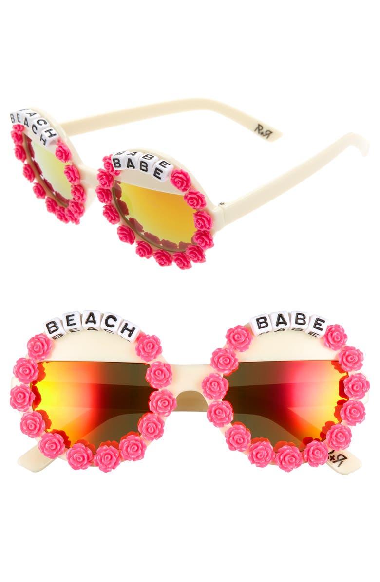 RAD + REFINED Beach Babe Round Sunglasses, Main, color, CREAM/ HOT PINK