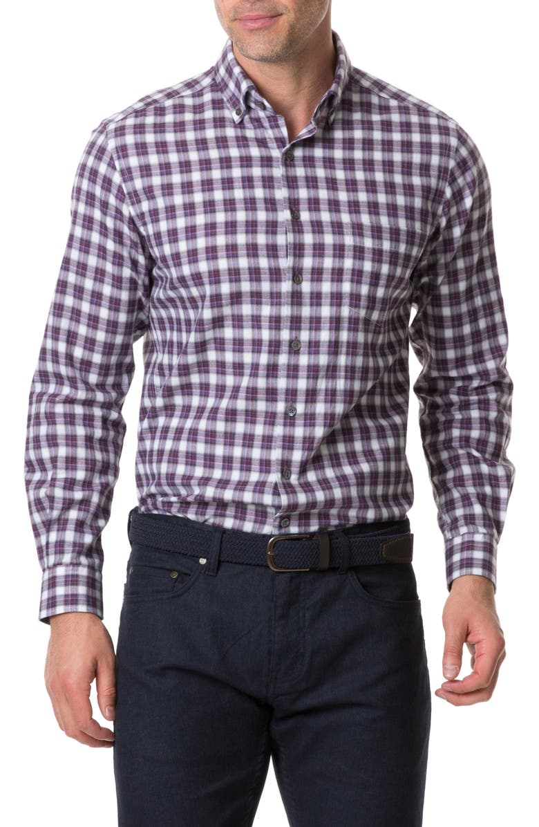 RODD & GUNN Monaghan Regular Fit Check Flannel Button-Up Shirt, Main, color, BURGUNDY