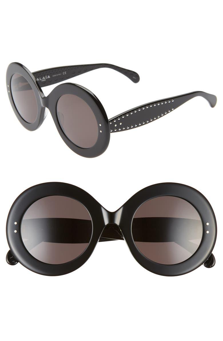 ALAÏA 50mm Round Sunglasses, Main, color, BLACK