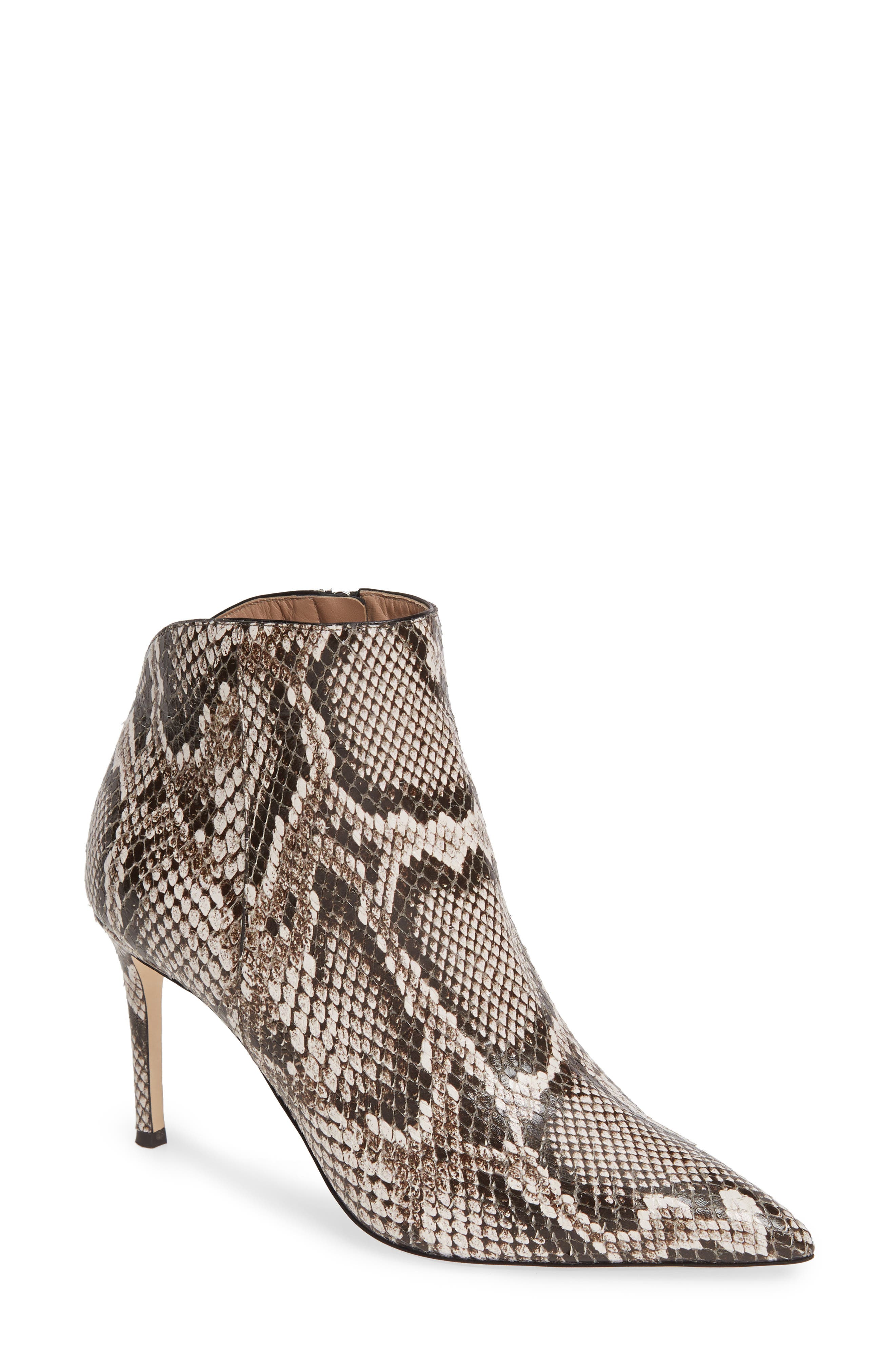Snake Embossed Pointy Toe Bootie, Main, color, 250