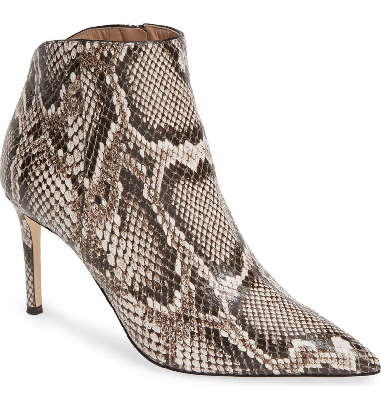 GIUSEPPE ZANOTTI Snake Embossed Pointy Toe Bootie, Main, color, NATURAL SNAKEPRINT