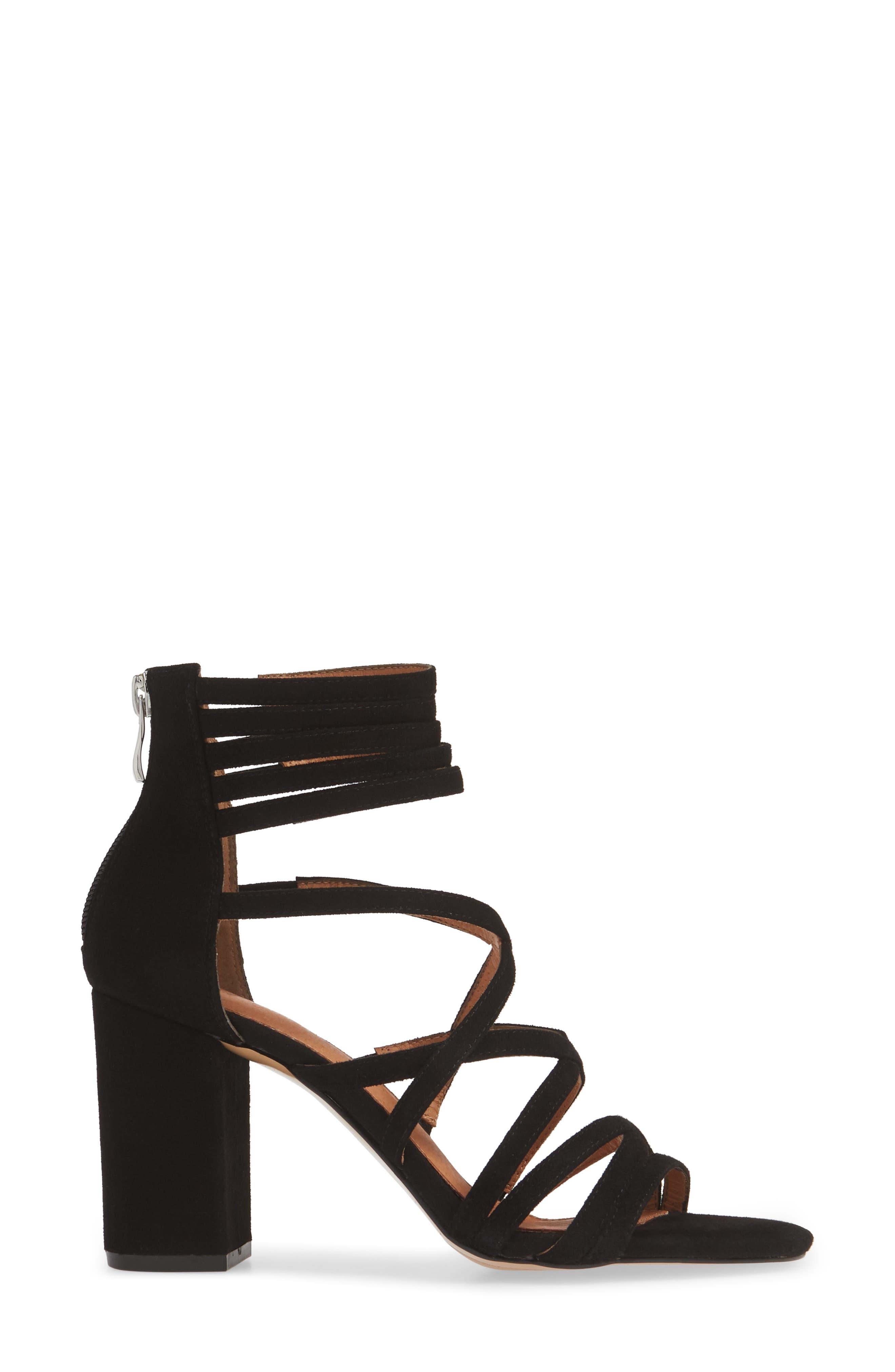 ,                             Strappy Block Heel Sandal,                             Alternate thumbnail 3, color,                             BLACK SUEDE