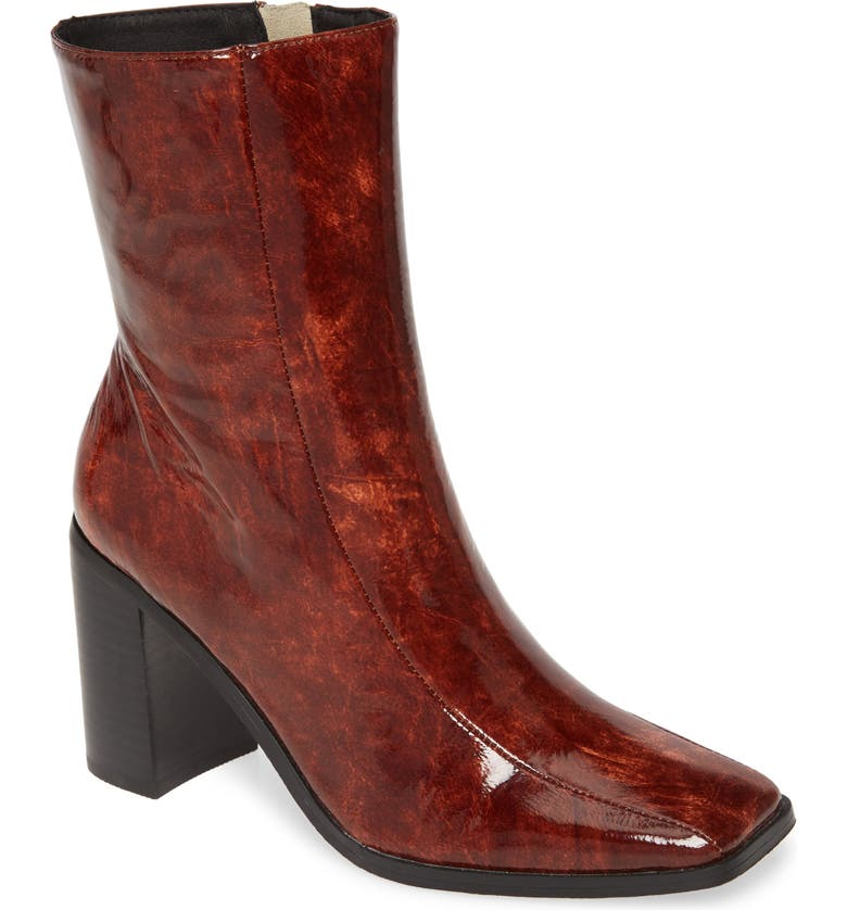 JAGGAR Square Toe Boot, Main, color, CHOCOLATE PATENT LEATHER