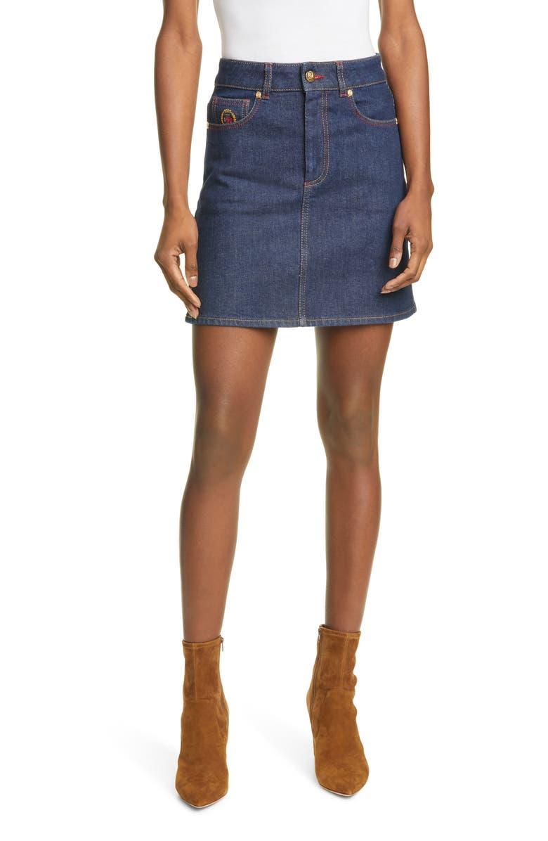 HILFIGER COLLECTION Crest Denim Miniskirt, Main, color, RINSE DENIM