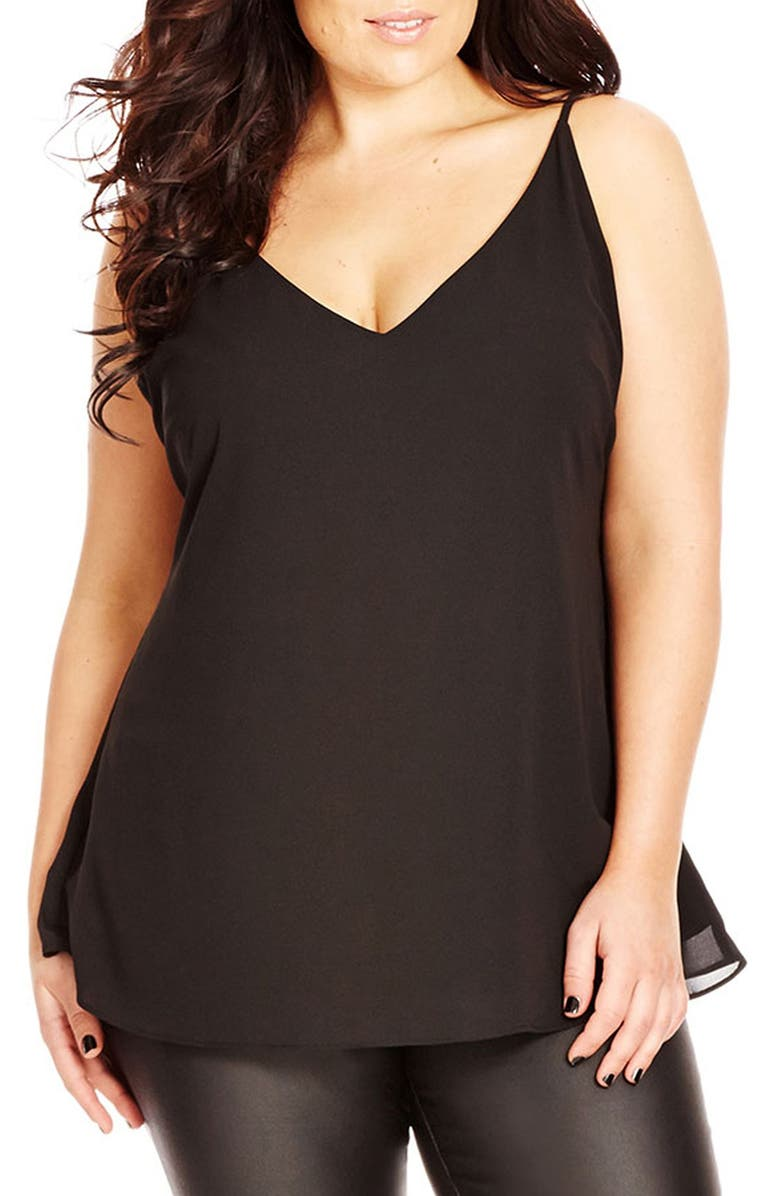 CITY CHIC Double Layer V-Neck Camisole Top, Main, color, BLACK