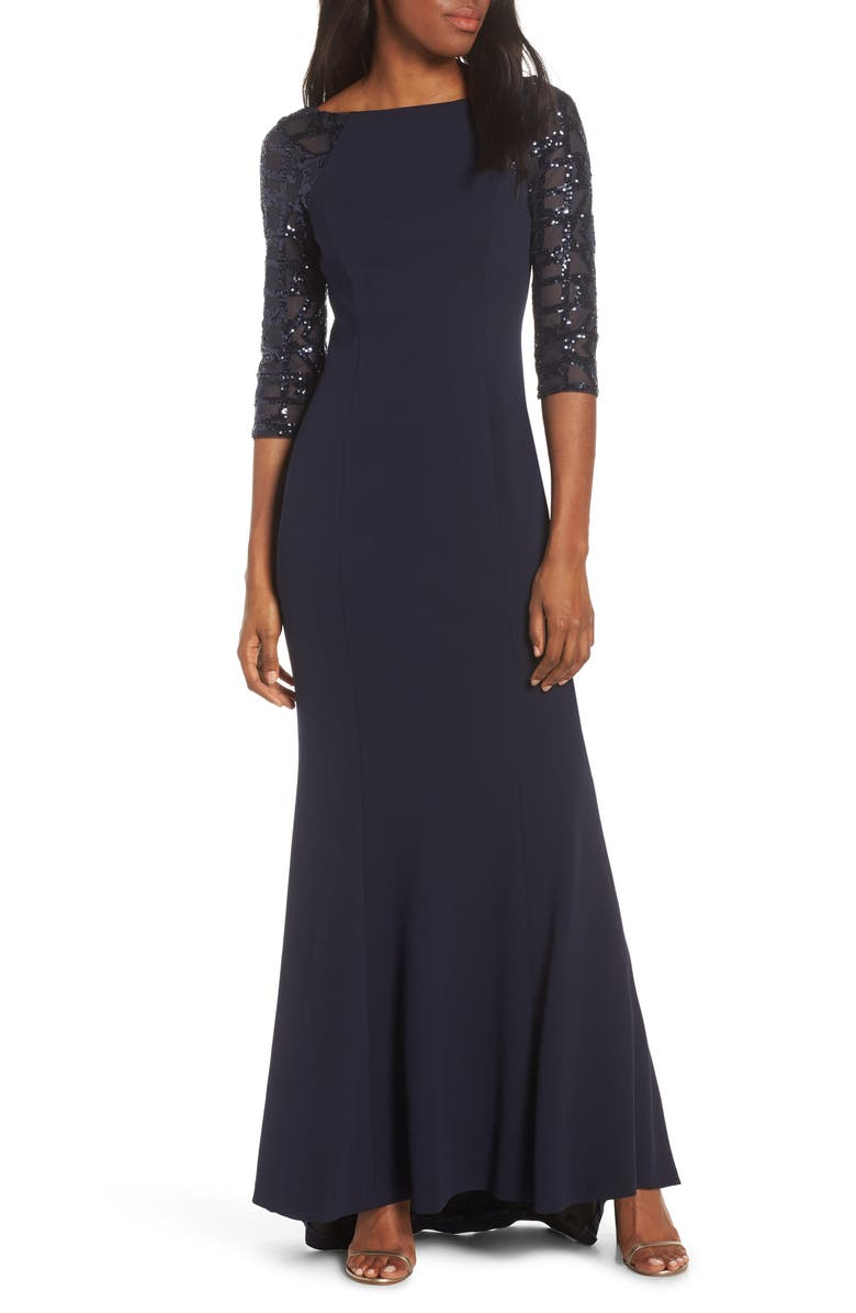 VINCE CAMUTO Sequin Crepe Trumpet Gown, Main, color, NAVY