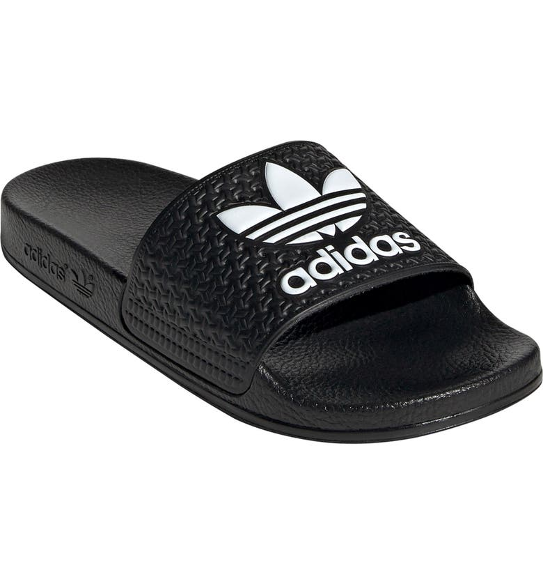 ADIDAS Adilette J Sport Slide, Main, color, CORE BLACK/ WHITE/ CORE BLACK